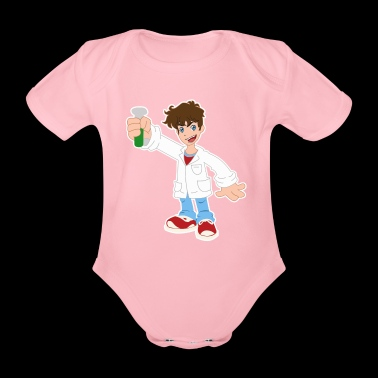 Cartoon Scientist Test Tub Heurika Gift - Økologisk kortermet baby-body