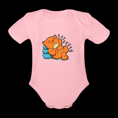 Cute Lovely Cat Lazy And Relax Saturday - Organic Short-sleeved Baby Bodysuit