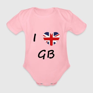 Ich Liebe GB / I love / Souvenir / Great Britann - Baby Bio-Kurzarm-Body