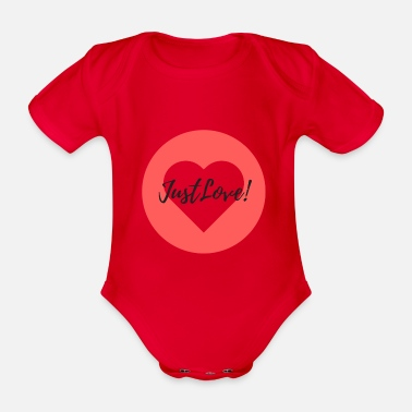 Teddy Boy HEART - JUST LOVE! - Organic Short-sleeved Baby Bodysuit