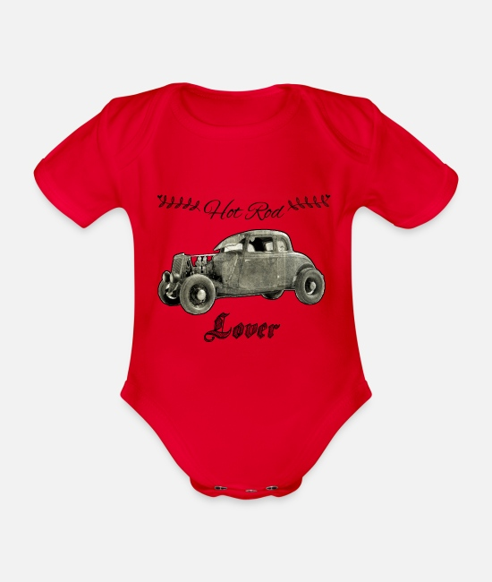 Vehicle Baby Bodysuits - Hot Rod - Organic Short-Sleeved Baby Bodysuit red