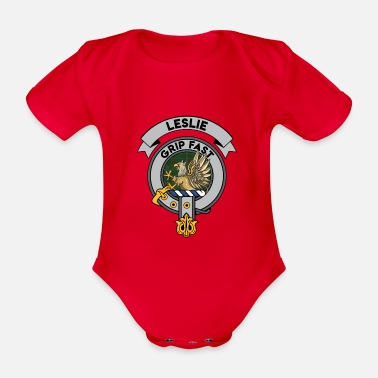 Clan Leslie Scottish Clan Badge Tartan - Organic Short-Sleeved Baby Bodysuit