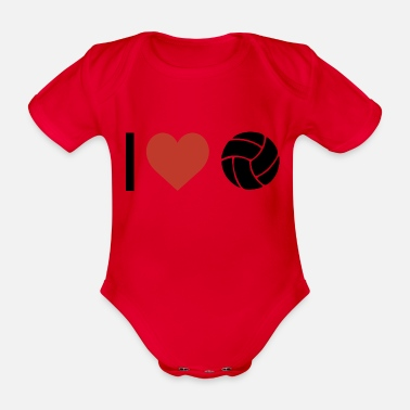 Sport I heart volleyball sport - Organic Short-Sleeved Baby Bodysuit