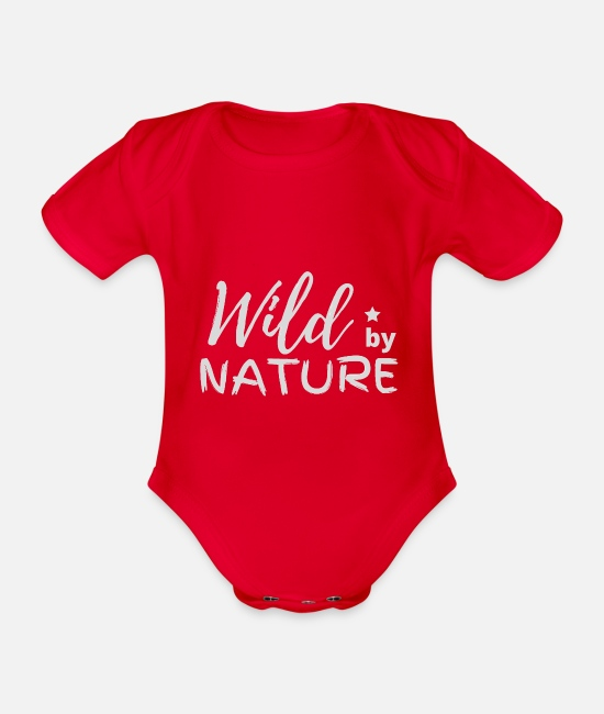 Nature Baby Bodysuits - WILD BY NATURE - Organic Short-Sleeved Baby Bodysuit red