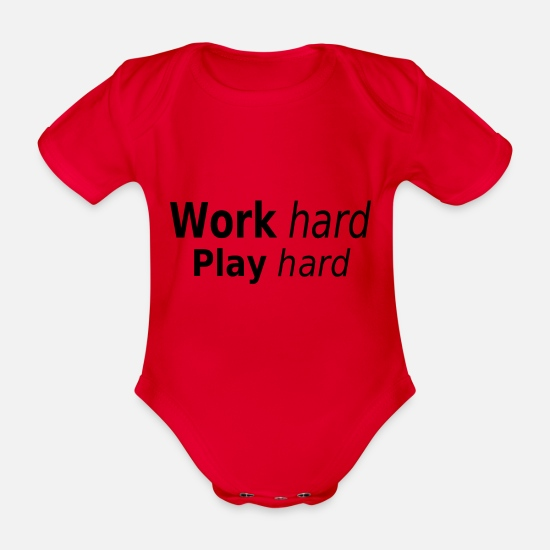Bulk Up Baby Clothes - Work hard play hard - Organic Short-Sleeved Baby Bodysuit red