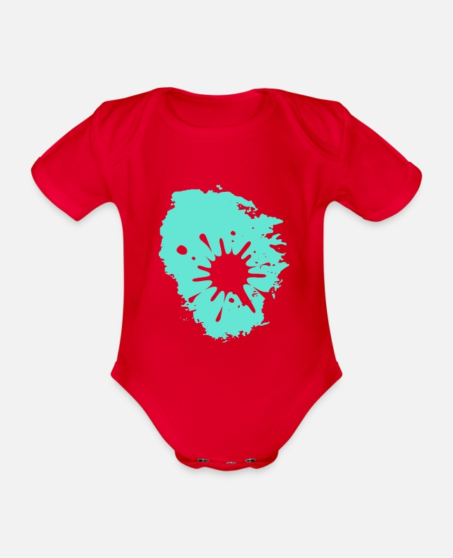 Spatter Baby Bodysuits - Splash blood blob stains gift idea trace - Organic Short-Sleeved Baby Bodysuit red