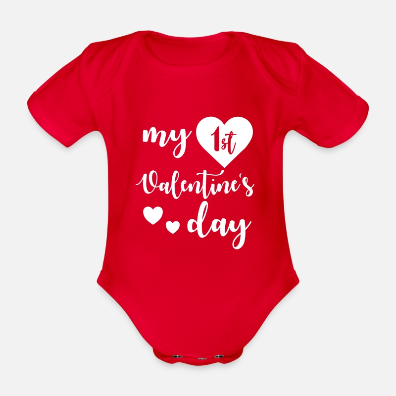 Valentine's Day Baby Clothing - My 1st Valentines Day - Organic Short-Sleeved Baby Bodysuit red