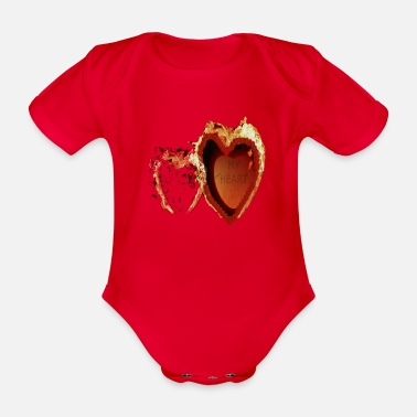 Heart My Heart is on fire - Organic Short-Sleeved Baby Bodysuit
