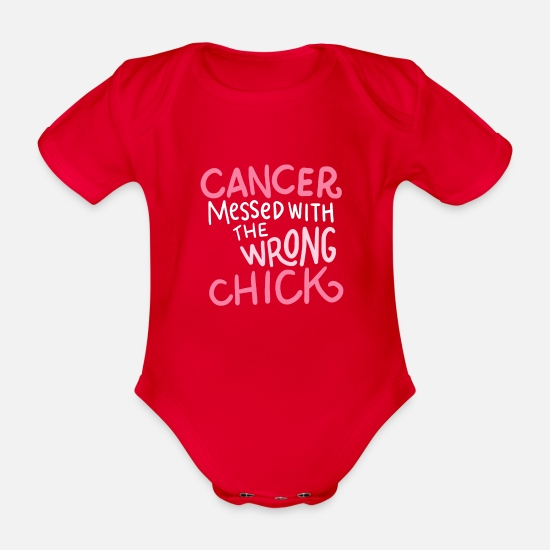 Cancer Babykleidung - Cancer messed with the wrong chick - Baby Bio Kurzarmbody Rot
