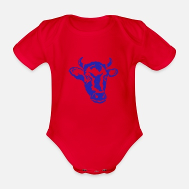 Cow cow head farmer cows beef cattle - Organic Short-Sleeved Baby Bodysuit