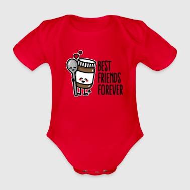 Best friends forever chocolate spread / spoon BFF - Organic Short-sleeved Baby Bodysuit