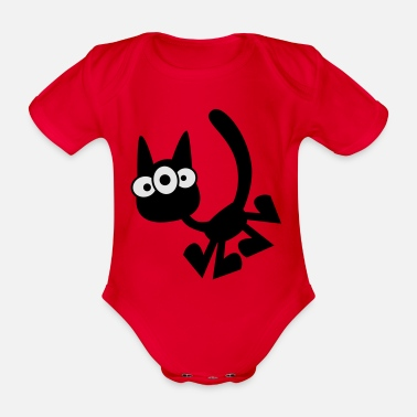 Three-Eyed Cartoon Cat Vector Graphic by Cheerful - Organic Short-Sleeved Baby Bodysuit