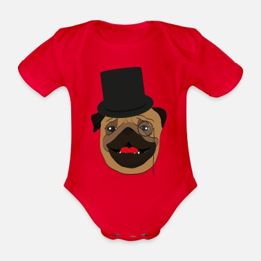 Wealthy The wealthy Pug - gift idea, monocle - Organic Short-sleeved Baby Bodysuit