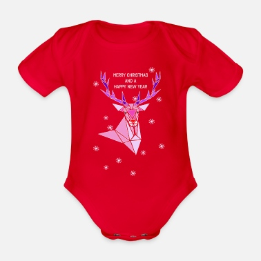 Jahresfest Rentier MERRY CHRISTMAS AND A HAPPY NEW YEAR - Baby Bio Kurzarmbody