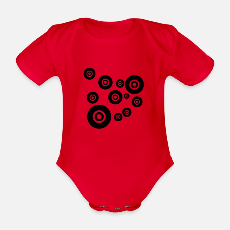 Cd Baby Clothes - bubble world super vinyl records wheel time design - Organic Short-Sleeved Baby Bodysuit red
