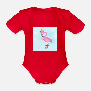 Frost Flamingo in the frost - Organic Short-sleeved Baby Bodysuit