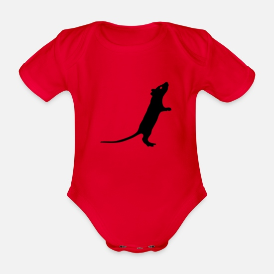 Rat Baby Clothes - Rat - Organic Short-Sleeved Baby Bodysuit red