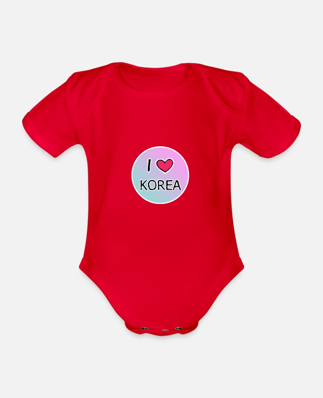 Heart Baby Bodysuits - i heart korea white - Organic Short-Sleeved Baby Bodysuit red
