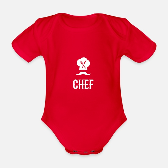 Oven Baby Clothes - chef logo - Organic Short-Sleeved Baby Bodysuit red
