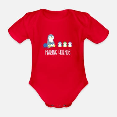 Penguin Penguin - Penguins - Penguin - Introvert - Organic Short-sleeved Baby Bodysuit