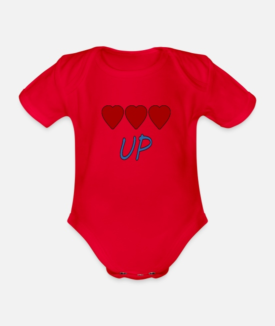 Heart Baby Bodysuits - UP hearts - Organic Short-Sleeved Baby Bodysuit red