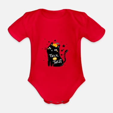 Trick Or Treat Trick or Treat - trick or treat cat - Organic Short-sleeved Baby Bodysuit