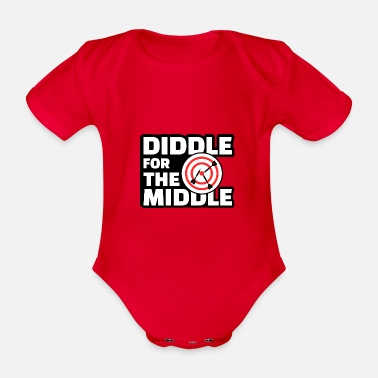 Diddl Diddle for the Middle - Lustiges Dart Shirt - Baby Bio-Kurzarm-Body