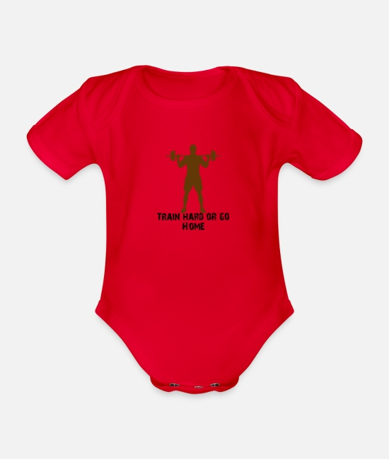 Training Baby Bodysuits - train hard or go home - Organic Short-Sleeved Baby Bodysuit red