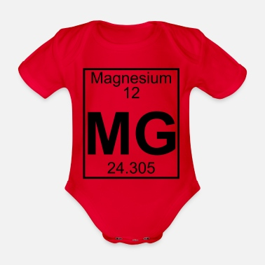 Mg Magnesium (Mg) (element 12) - Organic Short-Sleeved Baby Bodysuit