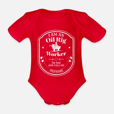 Oil Rig Drilling platform - oil rig - oil rig worker - Organic Short-Sleeved Baby Bodysuit