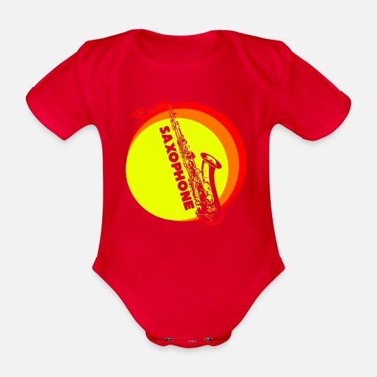 Gift Idea Baby Clothes - Saxophone saxophone T-shirt - Organic Short-Sleeved Baby Bodysuit red