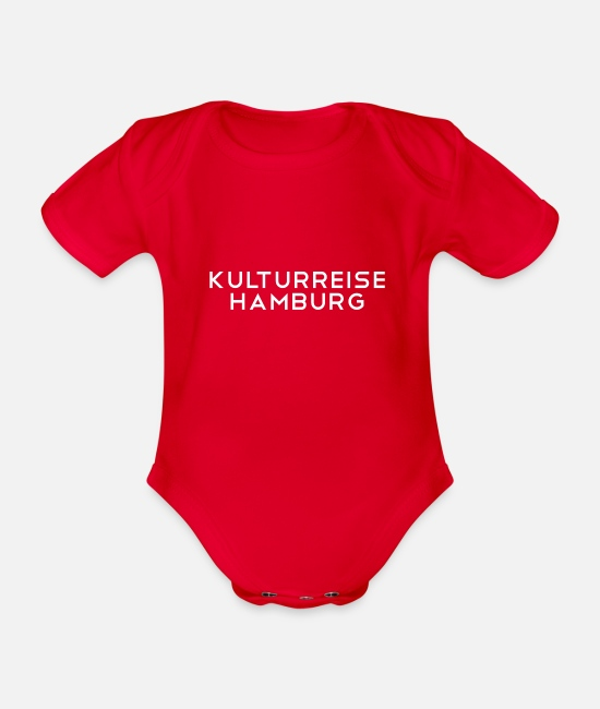 Journey Baby Clothes - Culture trip Hamburg - Organic Short-Sleeved Baby Bodysuit red