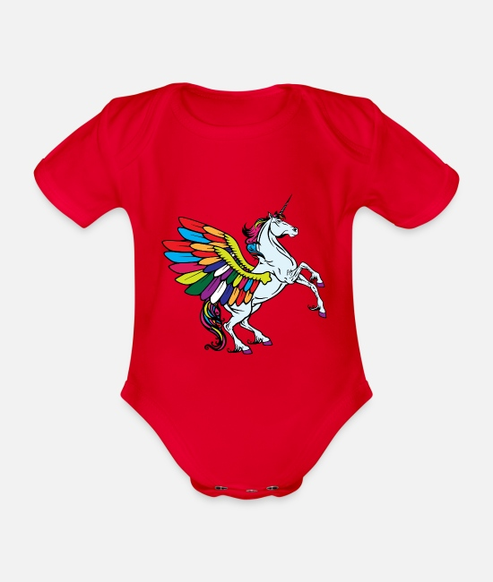 Gay Pride Baby Bodysuits - flying unicorn fable - Organic Short-Sleeved Baby Bodysuit red