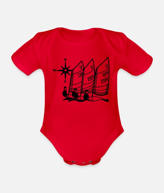 Optimist Baby Bodysuits - Optimist Sailing Regatta - kids - sailing kids - Organic Short-Sleeved Baby Bodysuit red