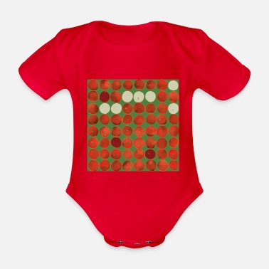 Apple Square apples pattern - red on green - Organic Short-Sleeved Baby Bodysuit