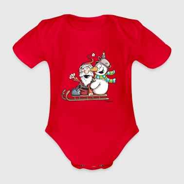 Santa Claus and Snowman - Sledge - Christmas  - Organic Short-sleeved Baby Bodysuit