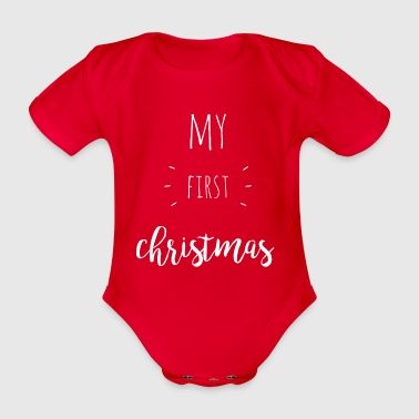 my first christmas - white - Organic Short-sleeved Baby Bodysuit