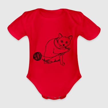 Playing cat - Organic Short-sleeved Baby Bodysuit