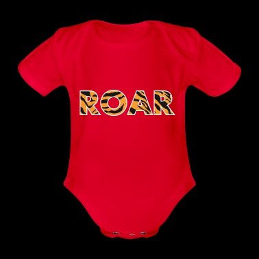 ROAR roar lettering tiger pattern stripes - Organic Short-sleeved Baby Bodysuit