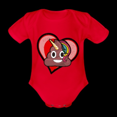 Cute Unicorn Poop Emoticon - Organic Short-sleeved Baby Bodysuit
