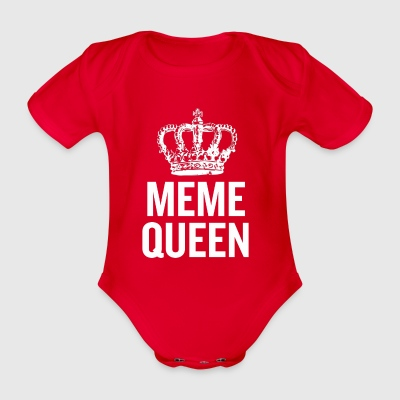 Meme Queen White - Organic Short-sleeved Baby Bodysuit
