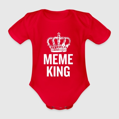 Meme King White - Organic Short-sleeved Baby Bodysuit