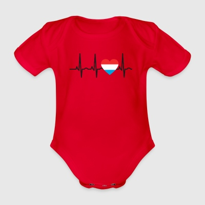 I LOVE ekg heartbeat Luxembourg Luxembourg - Organic Short-sleeved Baby Bodysuit