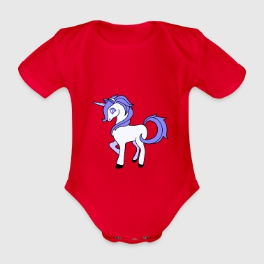 purple Unicorn - Organic Short-sleeved Baby Bodysuit