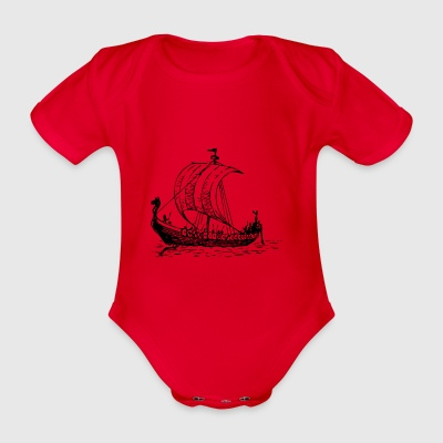 vikings wickinger warrior vikingboat boot10 - Organic Short-sleeved Baby Bodysuit