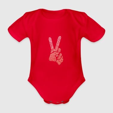 Victory sign finger typo hand big V demo cool f - Organic Short-sleeved Baby Bodysuit