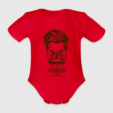 dead head hipster quote mustache loading progress - Organic Short-sleeved Baby Bodysuit