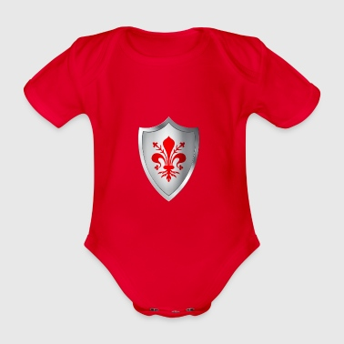 Shield coat of arms with lily of Florence - Organic Short-sleeved Baby Bodysuit
