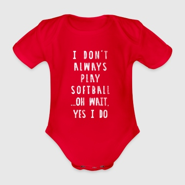 Funny Softball Shirt - Distressed Style - Organic Short-sleeved Baby Bodysuit