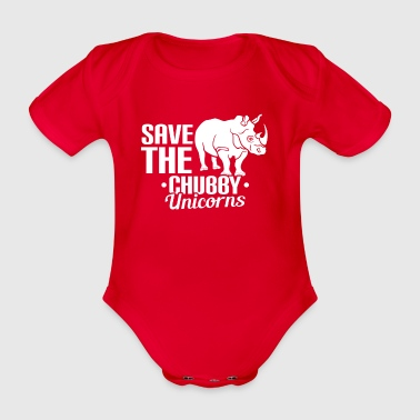 SAVE THE CHUBBY EENHOORNS - UNICORN - REDDING - Baby bio-rompertje met korte mouwen